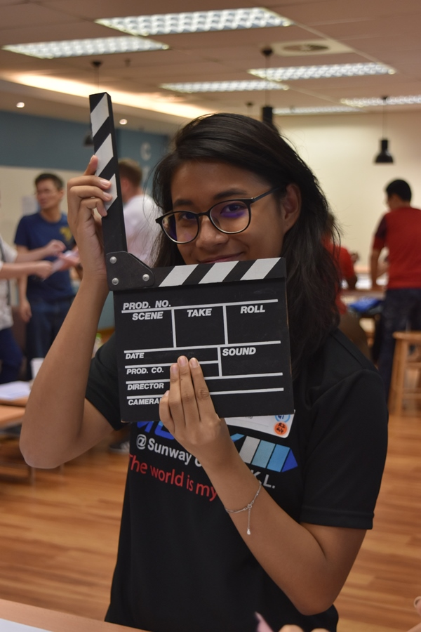 A Student with filmboard