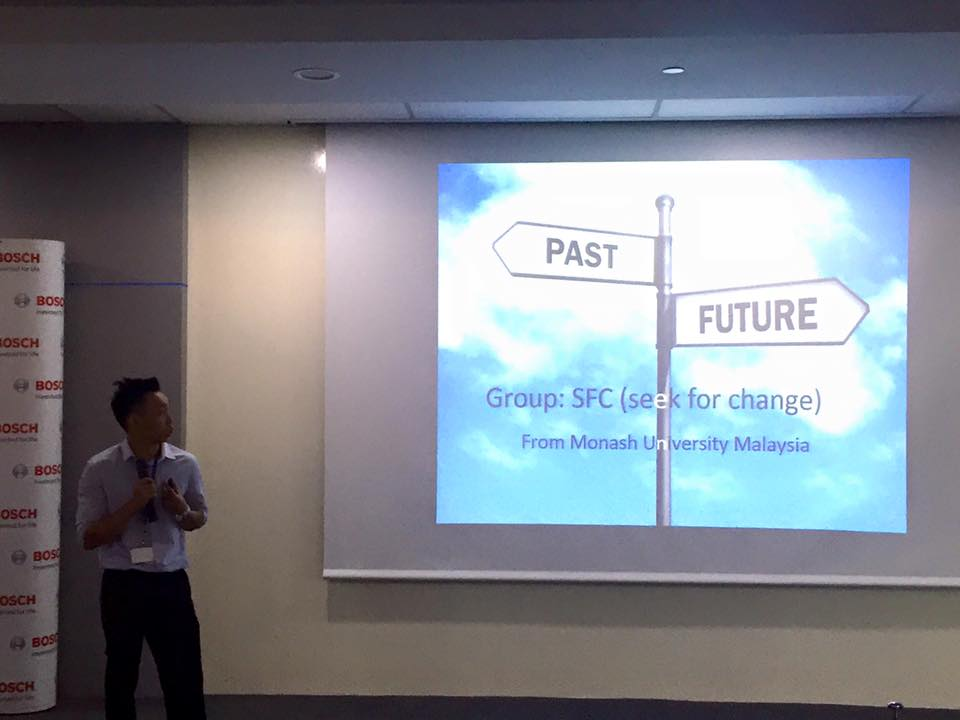 Mr. Chuwa Sheng Hong presenting the idea in the competition's final
