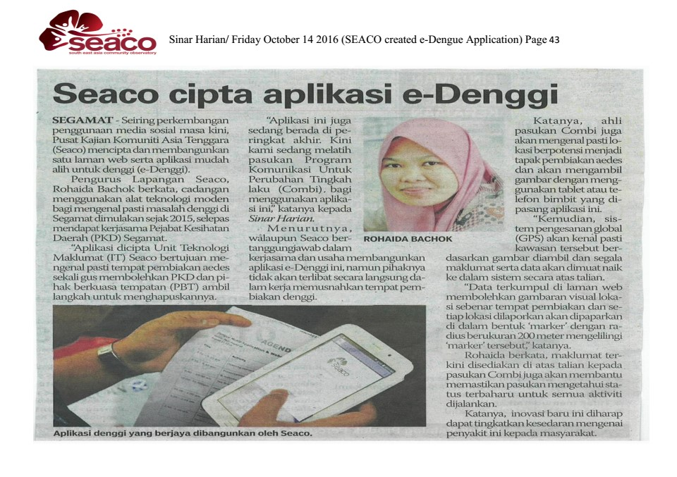 SEACO in Sinar Harian –14th October, 2016