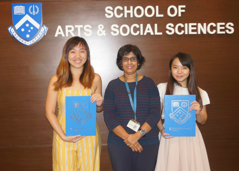 From left: Tham Jia Vern, Professor Helen Nesadurai and Vivian Yee Ze Ling