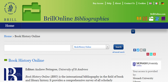 Book History Online - Brill
